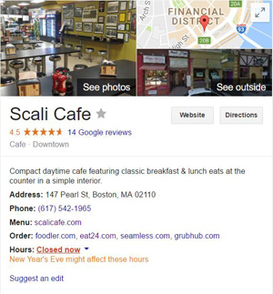 example of Google business page