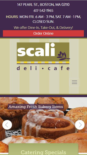 mobile friendly restaurant website with highly visible contact information