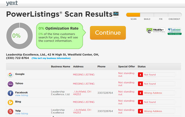 Yext online business directory audit tool