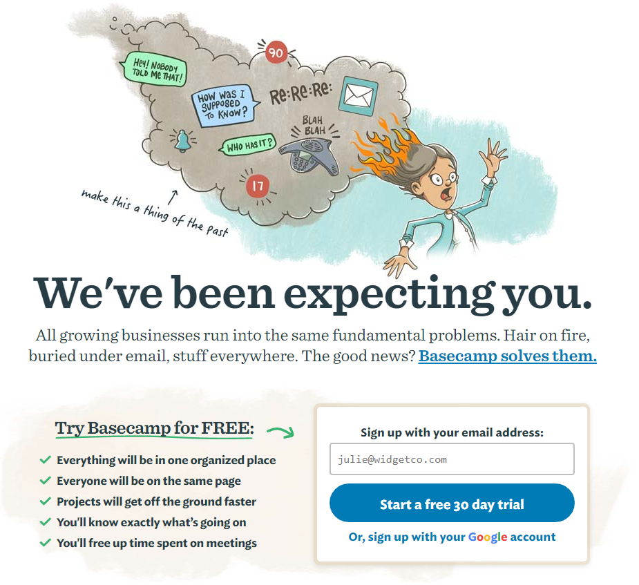 Basecamp call-to-action example