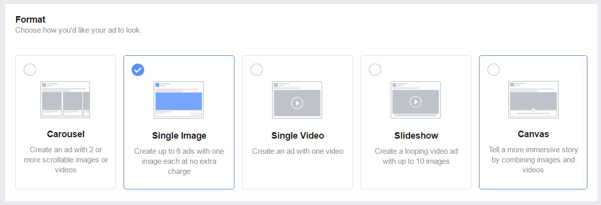 Facebook advertising format options