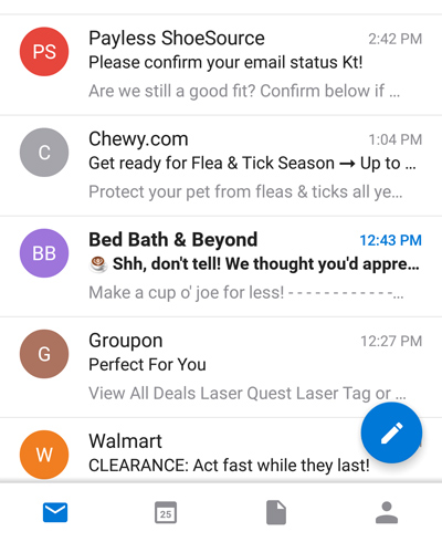 Email subject lines in mobile view