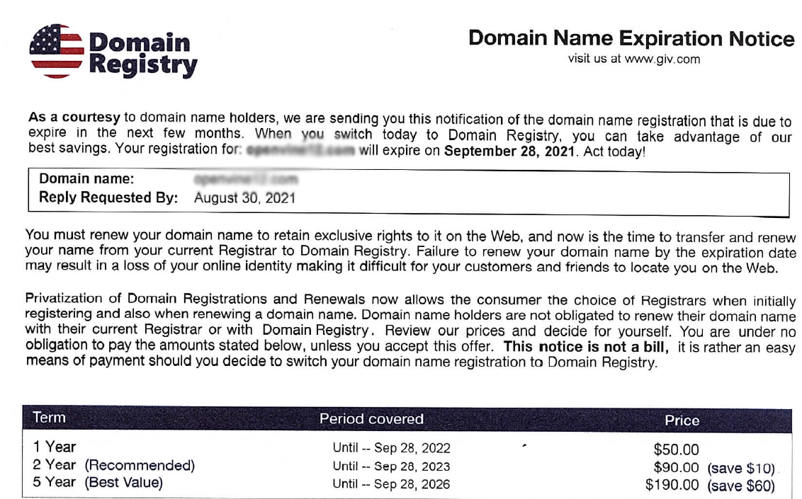 domain registry scam alert